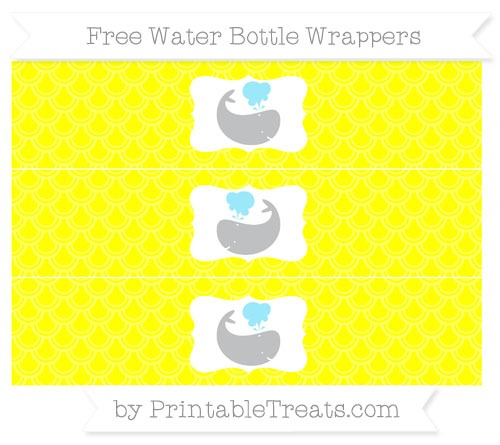 Free Yellow Fish Scale Pattern Whale Water Bottle Wrappers