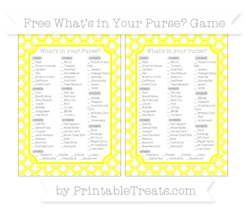 Free Yellow Fish Scale Pattern What's in Your Purse Baby Shower Game