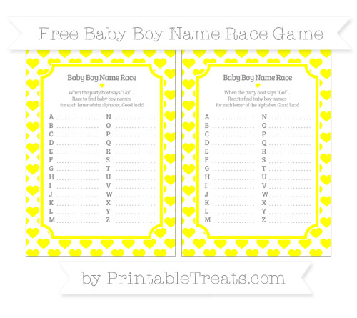 Free Yellow Heart Pattern Baby Boy Name Race Game