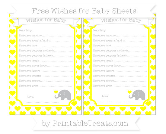 Free Yellow Heart Pattern Baby Elephant Wishes for Baby Sheets