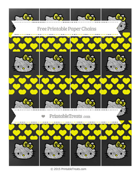 Free Yellow Heart Pattern Chalk Style Hello Kitty Paper Chains