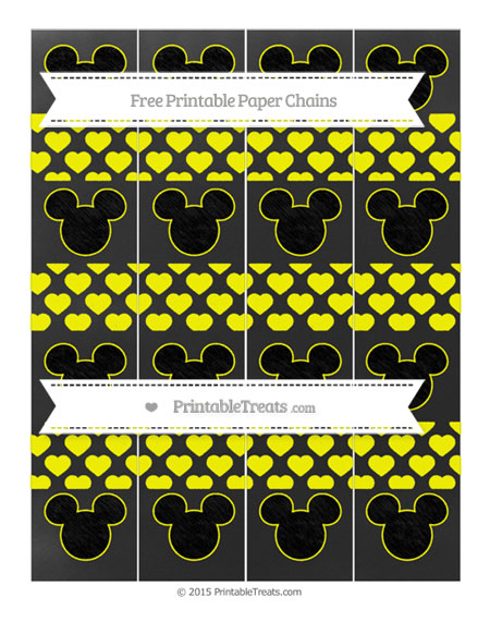 Free Yellow Heart Pattern Chalk Style Mickey Mouse Paper Chains