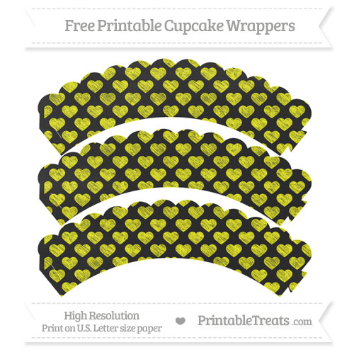 Free Yellow Heart Pattern Chalk Style Scalloped Cupcake Wrappers