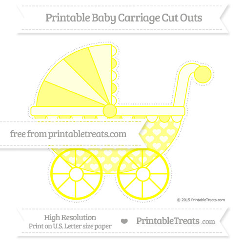 Free Yellow Heart Pattern Extra Large Baby Carriage Cut Outs