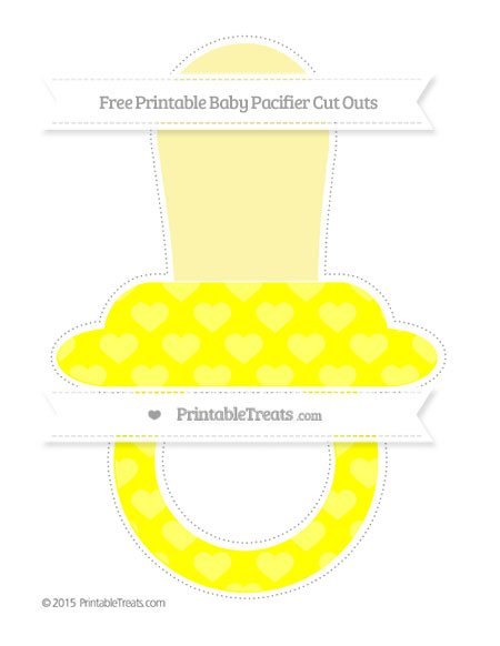 Free Yellow Heart Pattern Extra Large Baby Pacifier Cut Outs