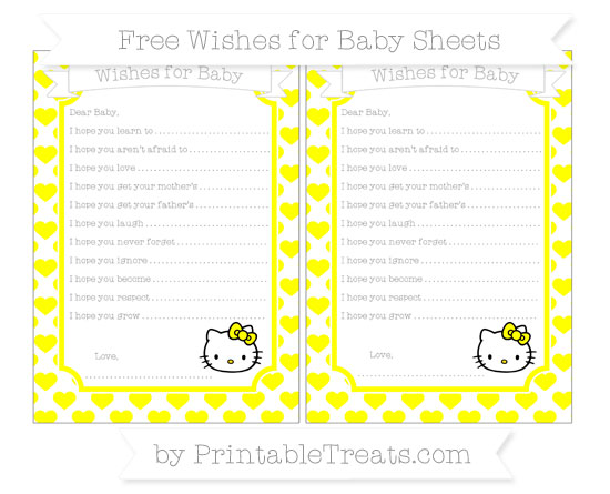 Free Yellow Heart Pattern Hello Kitty Wishes for Baby Sheets
