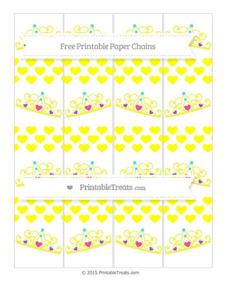 Free Yellow Heart Pattern Princess Tiara Paper Chains