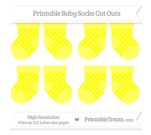 Free Yellow Heart Pattern Small Baby Socks Cut Outs