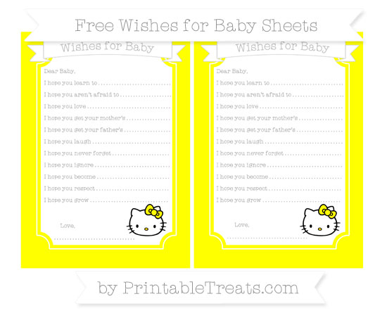 Free Yellow Hello Kitty Wishes for Baby Sheets