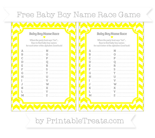 Free Yellow Herringbone Pattern Baby Boy Name Race Game