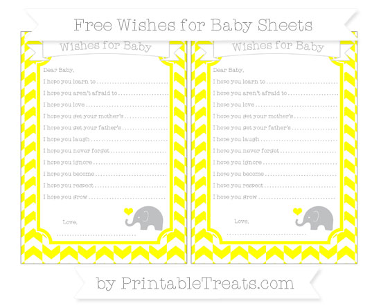 Free Yellow Herringbone Pattern Baby Elephant Wishes for Baby Sheets