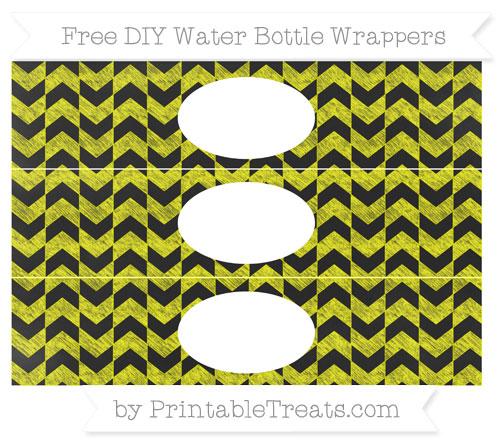 Free Yellow Herringbone Pattern Chalk Style DIY Water Bottle Wrappers