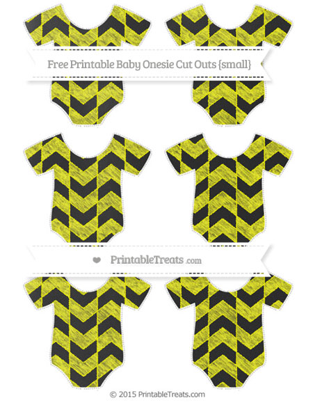 Free Yellow Herringbone Pattern Chalk Style Small Baby Onesie Cut Outs