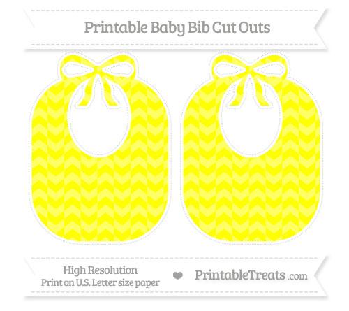 Free Yellow Herringbone Pattern Large Baby Bib Cut Outs