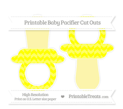 Free Yellow Herringbone Pattern Large Baby Pacifier Cut Outs