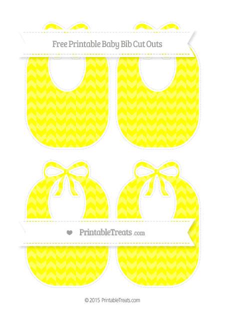 Free Yellow Herringbone Pattern Medium Baby Bib Cut Outs