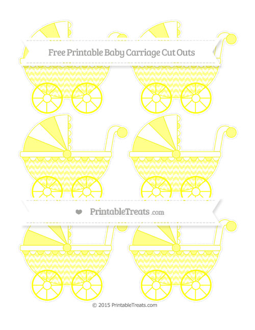 Free Yellow Herringbone Pattern Small Baby Carriage Cut Outs
