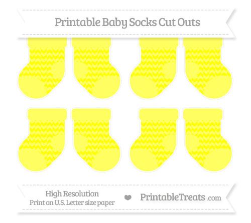 Free Yellow Herringbone Pattern Small Baby Socks Cut Outs