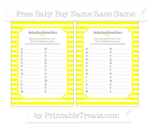 Free Yellow Horizontal Striped Baby Boy Name Race Game
