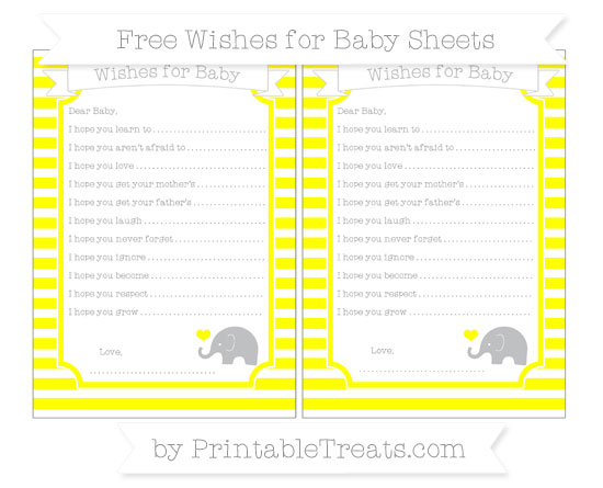 Free Yellow Horizontal Striped Baby Elephant Wishes for Baby Sheets