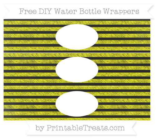 Free Yellow Horizontal Striped Chalk Style DIY Water Bottle Wrappers