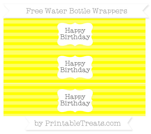 Free Yellow Horizontal Striped Happy Birhtday Water Bottle Wrappers