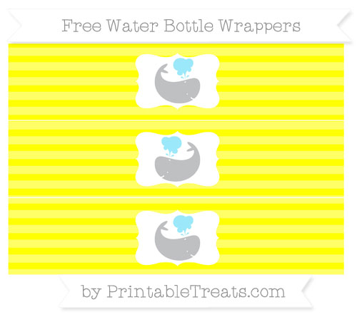 Free Yellow Horizontal Striped Whale Water Bottle Wrappers