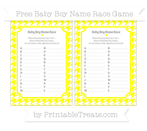 Free Yellow Houndstooth Pattern Baby Boy Name Race Game
