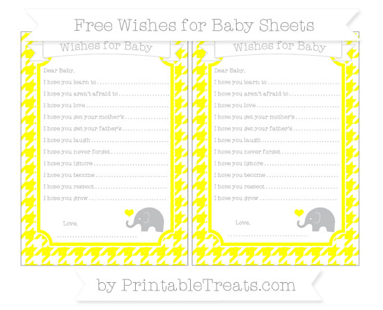 Free Yellow Houndstooth Pattern Baby Elephant Wishes for Baby Sheets