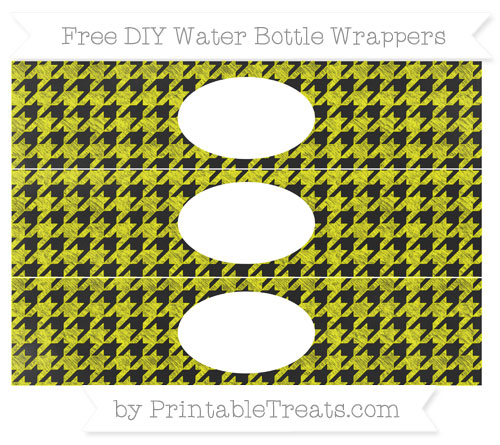 Free Yellow Houndstooth Pattern Chalk Style DIY Water Bottle Wrappers