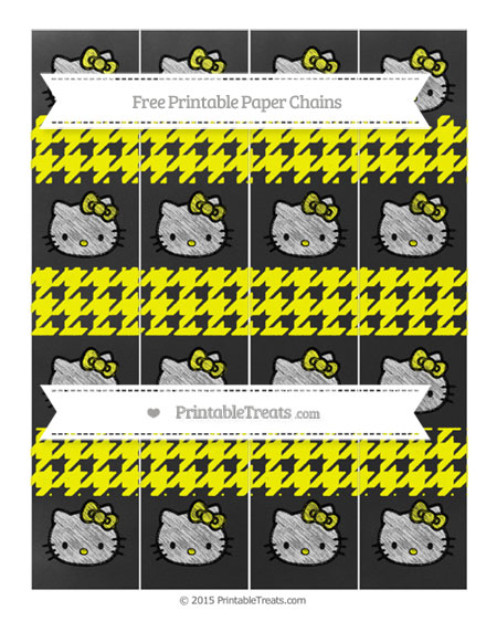 Free Yellow Houndstooth Pattern Chalk Style Hello Kitty Paper Chains