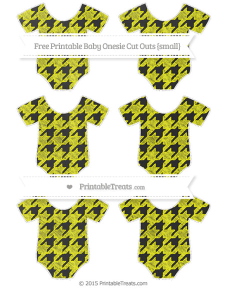 Free Yellow Houndstooth Pattern Chalk Style Small Baby Onesie Cut Outs