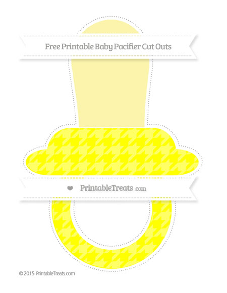 Free Yellow Houndstooth Pattern Extra Large Baby Pacifier Cut Outs