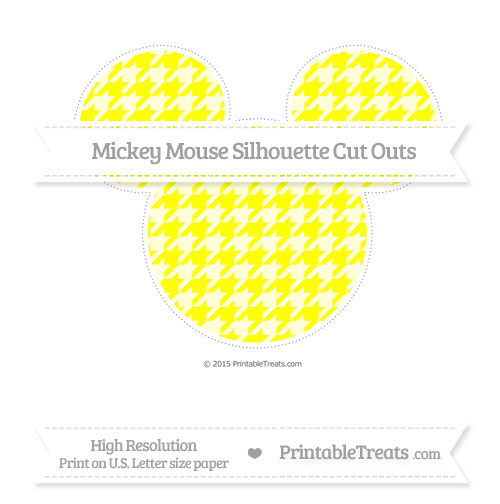 Free Yellow Houndstooth Pattern Extra Large Mickey Mouse Silhouette Cut Outs