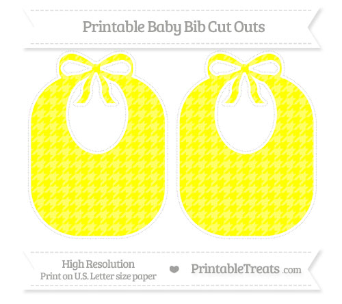Free Yellow Houndstooth Pattern Large Baby Bib Cut Outs