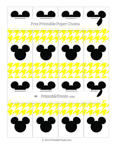 Free Yellow Houndstooth Pattern Mickey Mouse Paper Chains