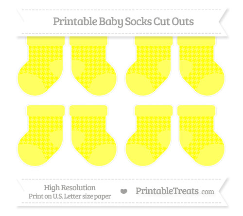 Free Yellow Houndstooth Pattern Small Baby Socks Cut Outs