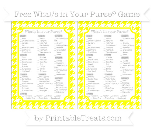 Free Yellow Houndstooth Pattern What's in Your Purse Baby Shower Game