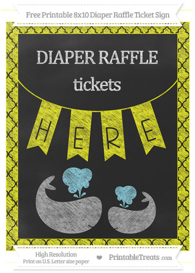 Free Yellow Moroccan Tile Chalk Style Baby Whale 8x10 Diaper Raffle Ticket Sign