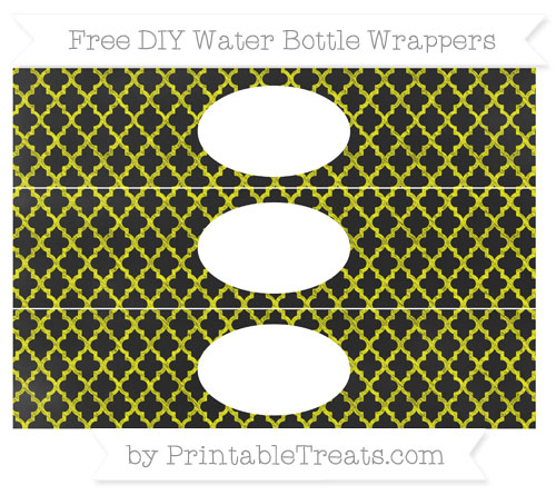 Free Yellow Moroccan Tile Chalk Style DIY Water Bottle Wrappers