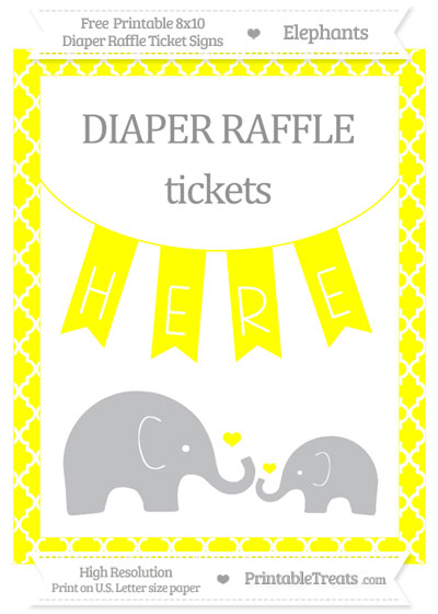 Free Yellow Moroccan Tile Elephant 8x10 Diaper Raffle Ticket Sign