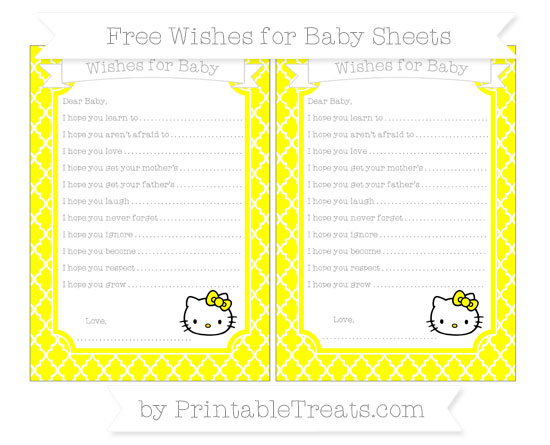 Free Yellow Moroccan Tile Hello Kitty Wishes for Baby Sheets