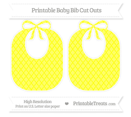Free Yellow Moroccan Tile Large Baby Bib Cut Outs