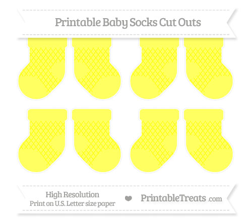 Free Yellow Moroccan Tile Small Baby Socks Cut Outs
