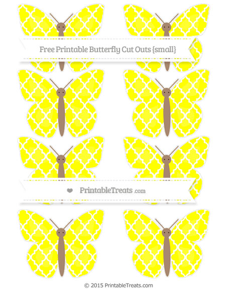 Free Yellow Moroccan Tile Small Butterfly Cut Outs