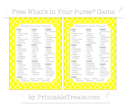 Free Yellow Moroccan Tile What's in Your Purse Baby Shower Game