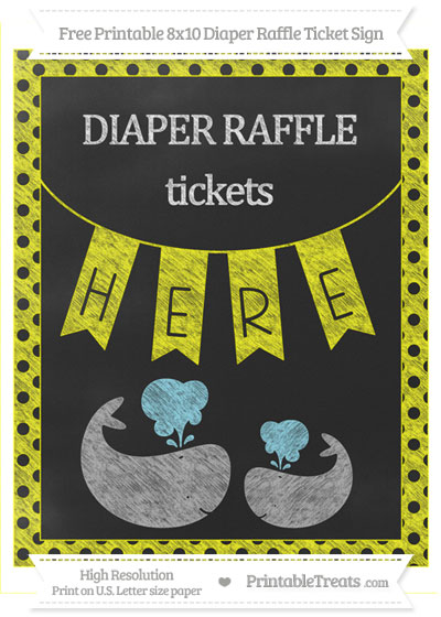 Free Yellow Polka Dot Chalk Style Baby Whale 8x10 Diaper Raffle Ticket Sign