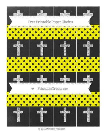 Free Yellow Polka Dot Chalk Style Cross Paper Chains
