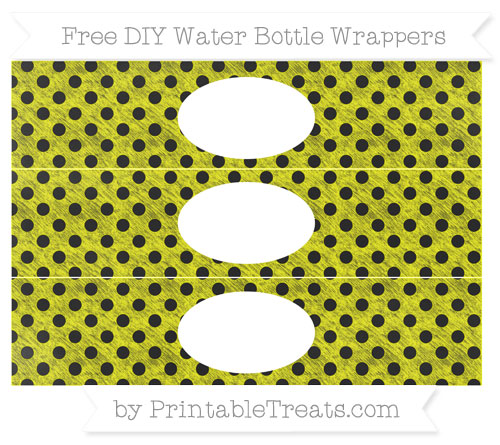 Free Yellow Polka Dot Chalk Style DIY Water Bottle Wrappers