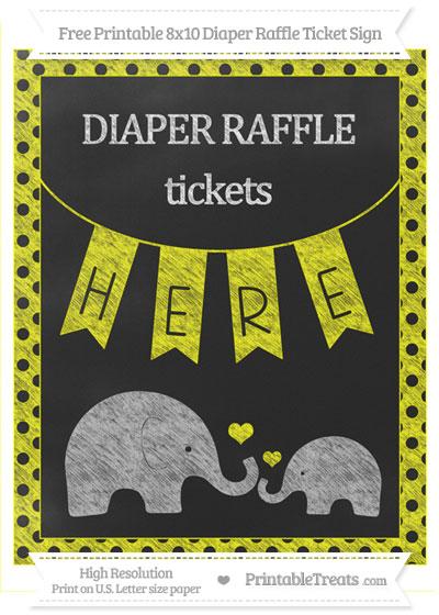 Free Yellow Polka Dot Chalk Style Elephant 8x10 Diaper Raffle Ticket Sign
